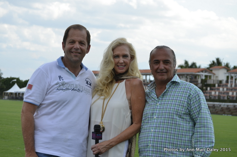 John Wash, International Polo Club President, Roxanna Cella, Palm Beach Rox Host and Sam Stathis, World Chariot Racing Founder photographed at the polo grounds