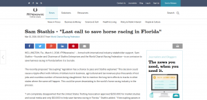prnewswire screenshot from save south florida horse racing article